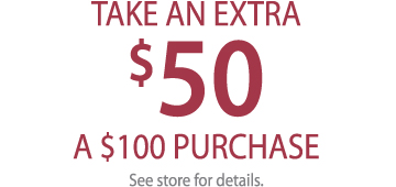 $50 OFF $100 PURCHASE