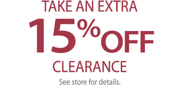 15% OFF CLEARANCE